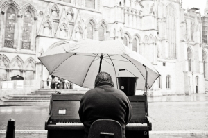 Busking in the rain, York. X100